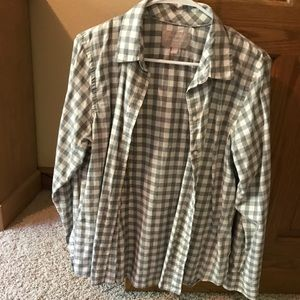 Flannel button up. Gray and white